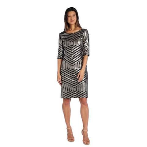 R&M Richards 3/4 Sleeve Sheath Dress with Sequin Detail, Black/Gunmetal, 16