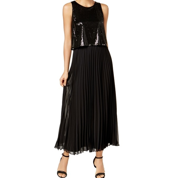MSK Black Women's Size 6 Sequin Popover Pleated Keyhole Gown Dress