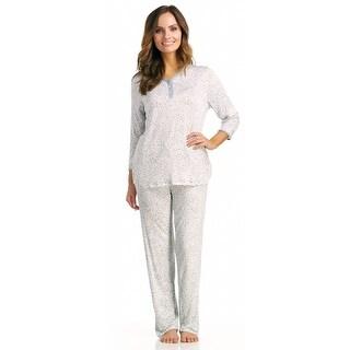 Rene Rofe Women's Garden Grove 3/4 Sleeve Long Pajama Set - Animal Print
