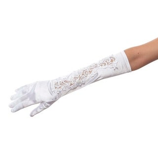 Elbow Envy Satin Gloves with Lace Inset and Beads