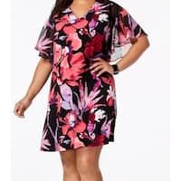 Connected Black Women's Size 18W Plus Floral Print Shift Dress