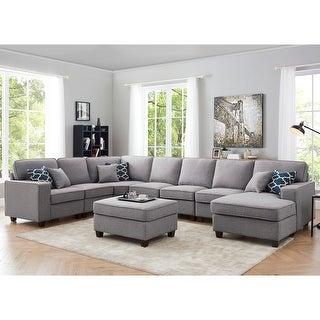 Link to Irma 8-piece Light Grey Linen Modular Sectional Sofa Set Similar Items in Living Room Furniture