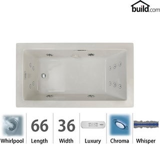 "Jacuzzi ELA6636WRL4CW  Elara 66"" Acrylic Whirlpool Bathtub for Drop-In Installations with Right Drain, Heater, Whisper"