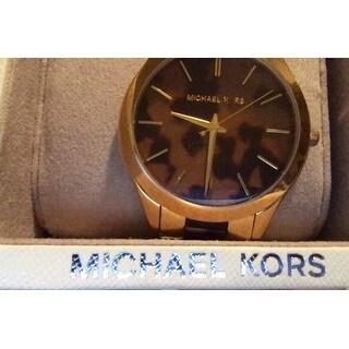Michael Kors Women's Slim Runway Round Two-tone Tortoise Bracelet Watch