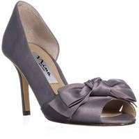 Nina Forbes2 Peep-Toe D'Orsay Dress Pumps, Royal Silver
