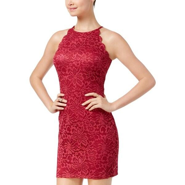 BCX Womens Juniors Mini Dress Lace Scalloped - 1