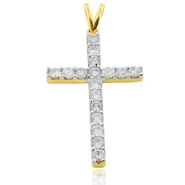 Gold Cross With Diamond small Charm 0.25ctw 10k Gold 30mm(i2/i3 I/j) By MidwestJewellery - White