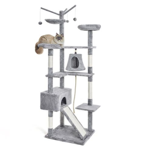 """Merax 75"""" Large Cat Tree with Hammock, Interactive Toys, Two Perches, One Roomy House, and Scratching Pad - Grey"""