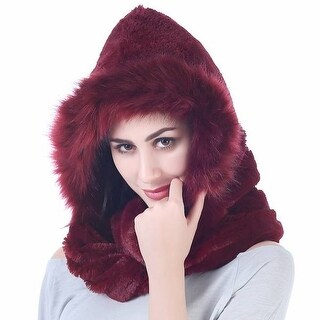 Mad Style Burgundy Fleece and Fur Hooded Infinity