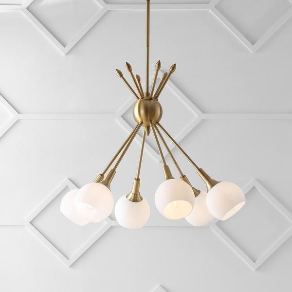 "Safavieh Lighting Justine Adjustable 6-light Brass Gold Pendant - 22""x22""x18-54"". Opens flyout."