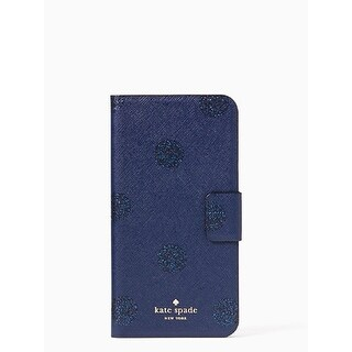 Kate Spade New York Glitter Dot Leather Wrap Folio Case For iPhone 7 Plus - French Navy