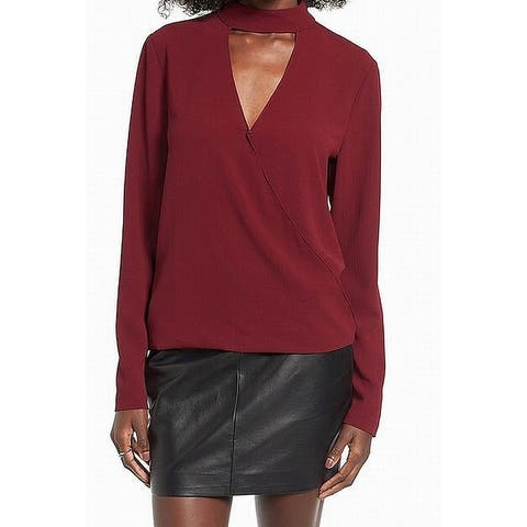 WAYF Red Womens Size Small S Choker Long Sleeve V-Neck Blouse