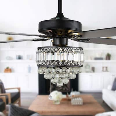 """52"""" Crystal Ceiling Fan with 5 Reversible Blades and Remote"""