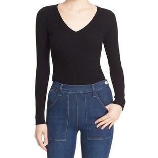 Autumn Cashmere NEW Black Women's Size Medium M V-Neck Wool Ribbed Sweater