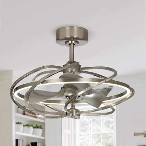 Satin Nickel 27-in Reversible 3-Blade LED Fandelier Ceiling Fan