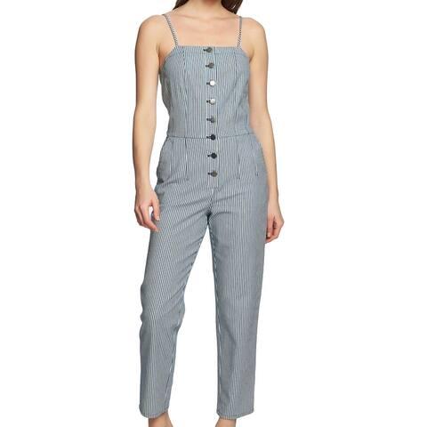 1. State Women's Jumpsuit Blue Size 12 Denim Stripe Button Front Tank