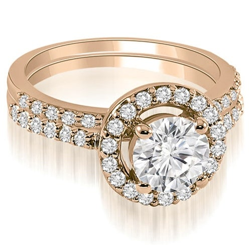 1.36 cttw. 14K Rose Gold Halo Round Cut Diamond Bridal Set