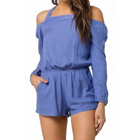 O'Neill Womens Ellsworth Romper Blue Size Medium M Halter Off-Shoulder