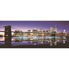 "LED Lighted Famous New York City Brooklyn Bridge Skyline Canvas Wall Art 15.75"" x 39.25"""