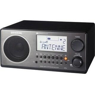 Sangean Wr-2Bk Fm-Rds (Rbds)/Am Wooden Cabinet Table Top Digital Tuning Receiver, Black, 10 Memory Preset Stations (5 Fm