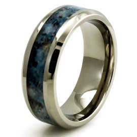 Titanium w/ Imitation Blue Marble Inlay Band Design Ring