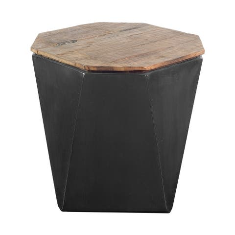 "Mercana Esagono II 19.3"" x 20.9"" Black Metal and Natural Wood Hinged-Top End/Side Table - 19.3L x 19.3W x 20.9H"