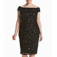 Adrianna Papell Black Womens Size 20W Plus Sequin Sheath Dress