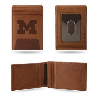 4 Brown College Michigan Wolverines Front Pocket Wallet N A