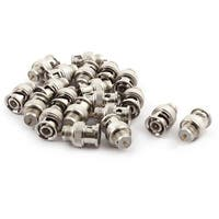 Metal BNC Male TV RF Coaxial Cable Connector Silver Tone 21mm Long 20pcs