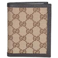 """Gucci 292533 Men's Beige Canvas GG Guccissima Vertical Bifold Wallet - Brown - 3 7/8"""" x 4 3/4"""""""