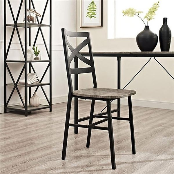 Ordinaire Walker Edison Furniture Metal X Back Wood Dining Chair In Driftwood