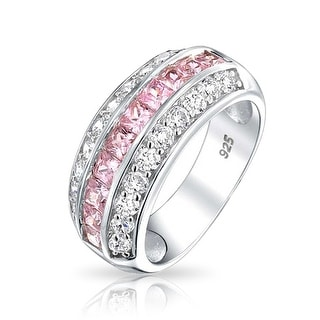 Bling Jewelry 925 Channel Set Pink Cubic Zirconia Wide Half Eternity Ring