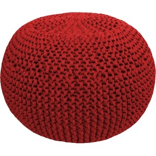 Hoooked Knit & Crochet Pouf Kit W/Zpagetti Yarn-Burgundy Passion