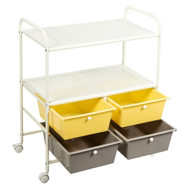 Gymax 4 Drawers Rolling Storage Cart Metal Rack Shelf Home Office - See Details. Opens flyout.