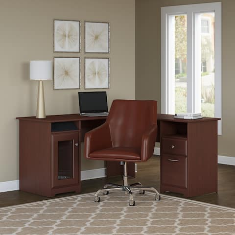 Copper Grove Burgas 60W L-Desk with Mid Back Leather Box Chair