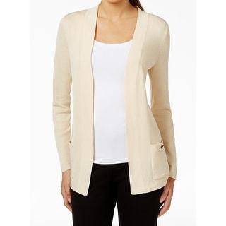 Anne Klein NEW Beige Women's Size Small S Open Front Cardigan Sweater