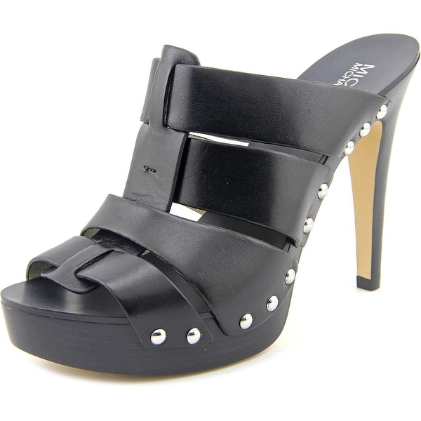 Michael Michael Kors Somerly Mule Women Peep-Toe Leather Black Mules