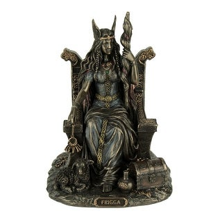 Frigga Norse Goddess Of Love Marriage and Destiny Sitting On Throne Statue - 7.25 X 5.5 X 5 inches