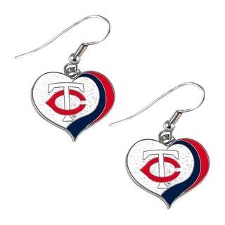 Minnesota Twins MLB Glitter Heart Earring Swirl Charm Set