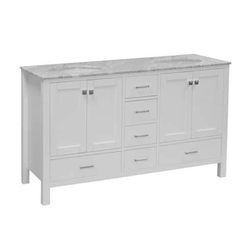 "KitchenBathCollection Horizon 60"" Double Bathroom Vanity with Carrara Marble Top"
