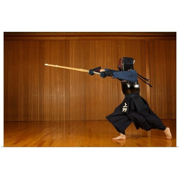 """Kendo Fencer Practicing"" Poster Print"