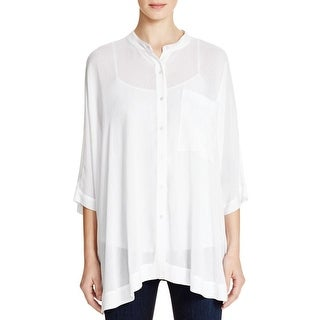 Pure DKNY Womens Button-Down Top Dolman Sleeves Collarless