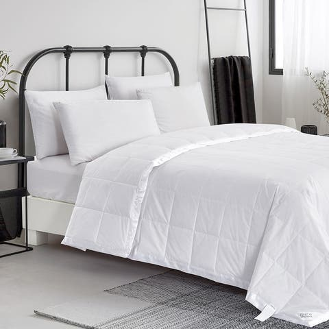 Lightweight Satin Trim Design Oversized Down Blanket with Cotton Cover