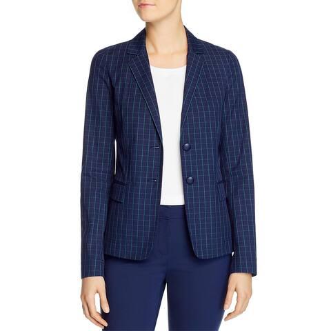 Lafayette 148 New York Womens Thatcher Blazer Window Pane Suit Separate - Elm Green Multi