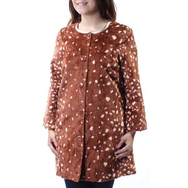 ce38eb590 MAISON JULES Womens Brown Faux Fur Polka Dot Peacoat Jacket Size: S