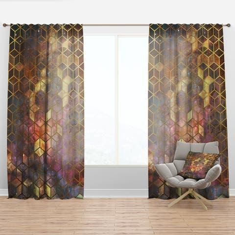 Designart 'Yellow Cubes on Nebula' Modern & Contemporary Curtain Panel