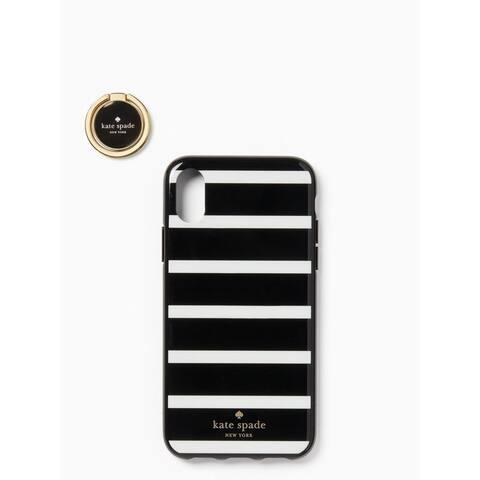 Kate Spade New York Ring & Stripe Resin iPhone X / iPhone Xs Case, Black Multi