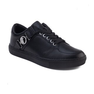 Versace Collection Men's Leather Medusa Logo Low Top Sneaker Shoes Black