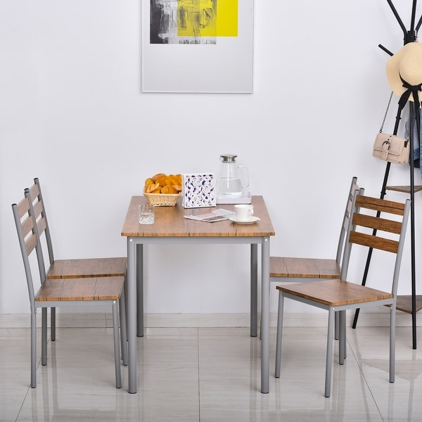 HOMCOM Modern 5-Piece Wooden Dining Kitchen table set 1 Table 4 Chairs Metal legs. Opens flyout.