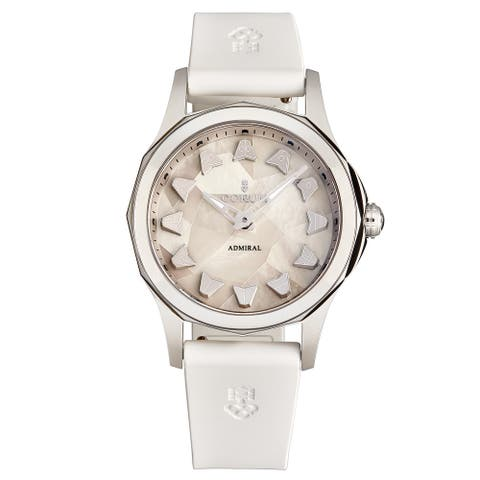 Corum Women's A400/03589 'Admiral Cup' Mother of Pearl Marquetry Dial White Rubber Strap Automatic Watch